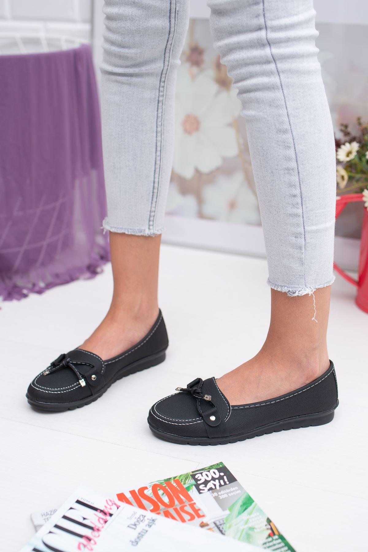 Fiyonklu Siyah Keten Ayakkabı