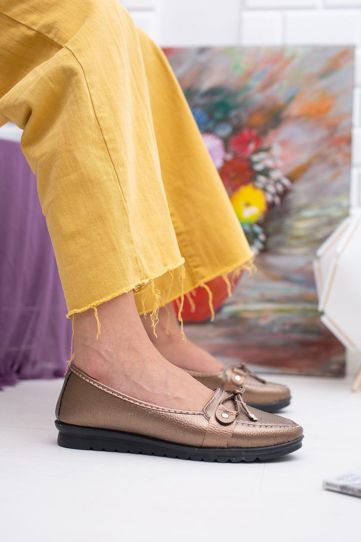Fiyonklu Keten Bakır Ayakkabı