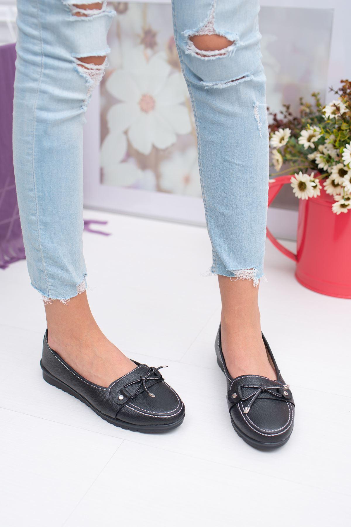 Fiyonklu Siyah Cilt Ayakkabı