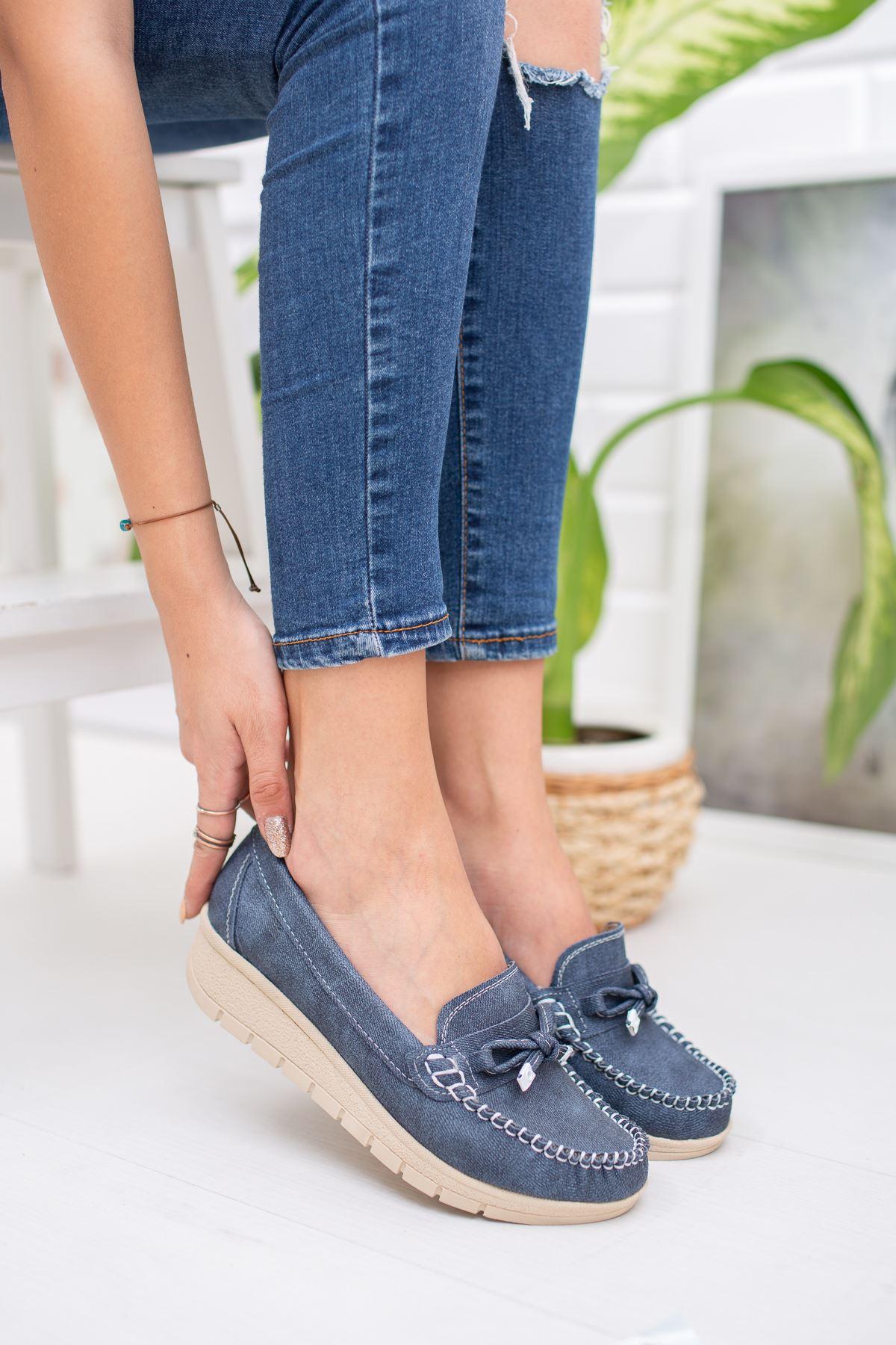 Dolgu Taban  Bıyıklı Ortapedik Pedli Lacivert Ayakkabı