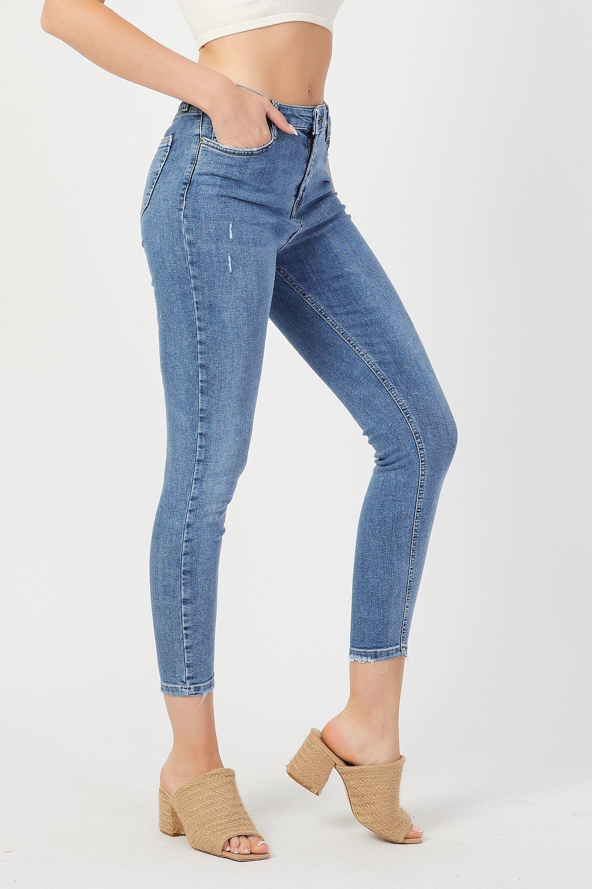 Yüksek Bel Yıpratmalı Dar Paça Pantolon
