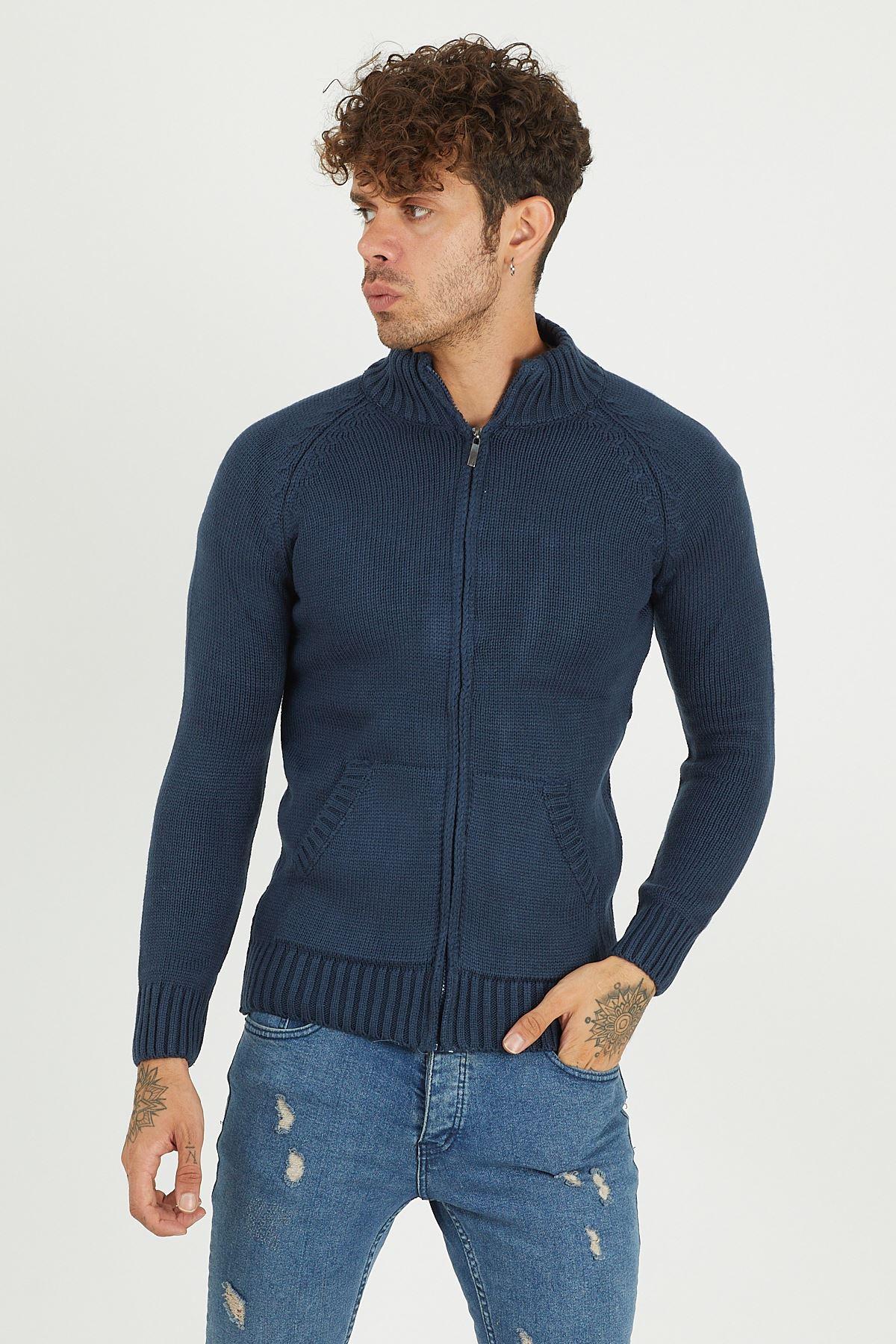 Fermuarlı Triko Ceket