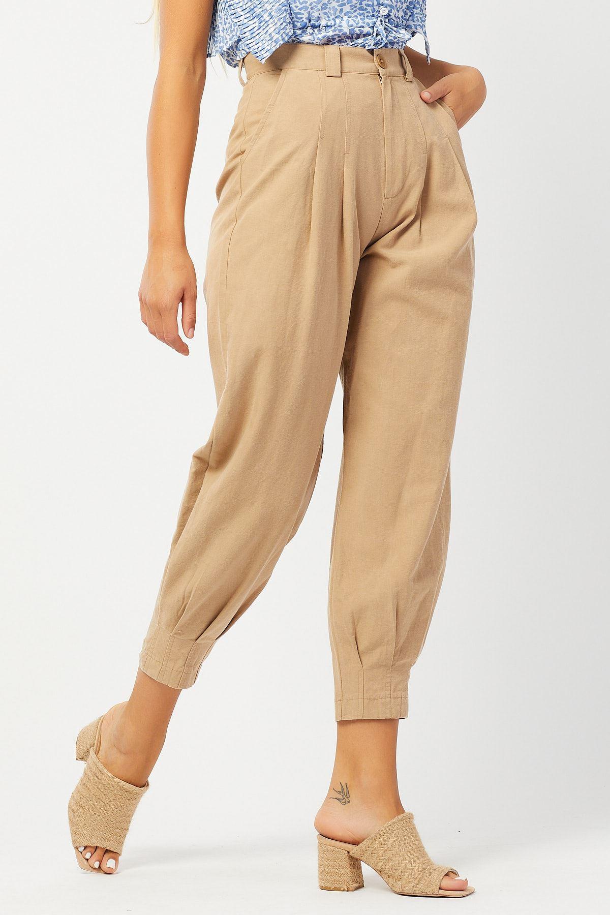 Bel Ve Paça Pileli Keten Pantolon
