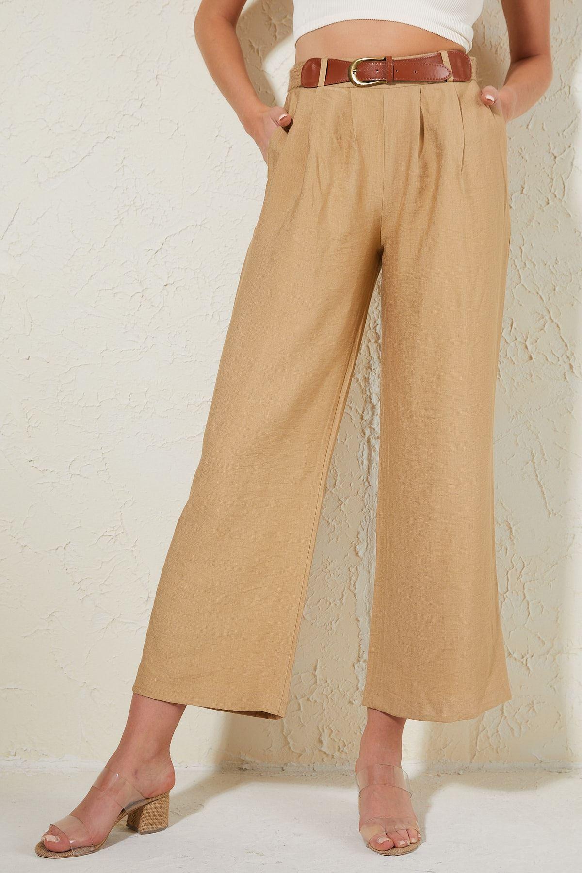 Hasır Kemerli Pantolon