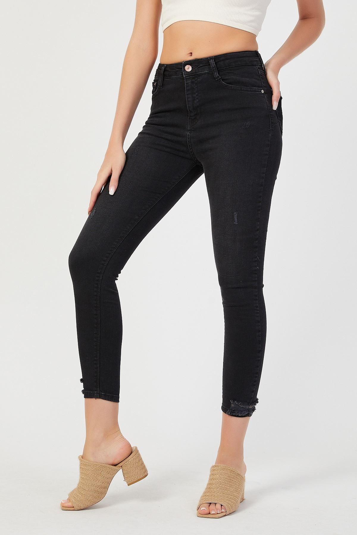 Paça Yıpratmalı Yüksek Bel Kot Pantolon