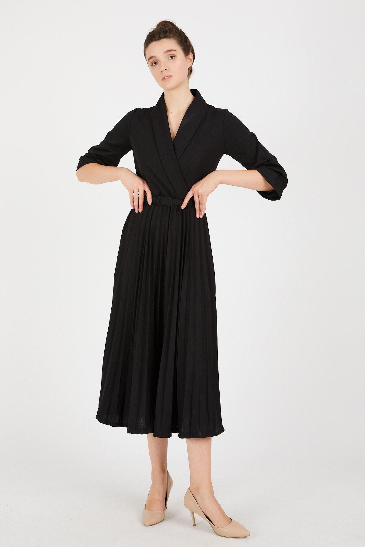 Pileli Uzun Elbise