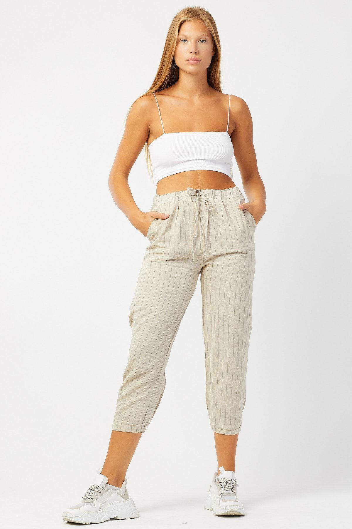 Bağcıklı Çizgili Pantolon