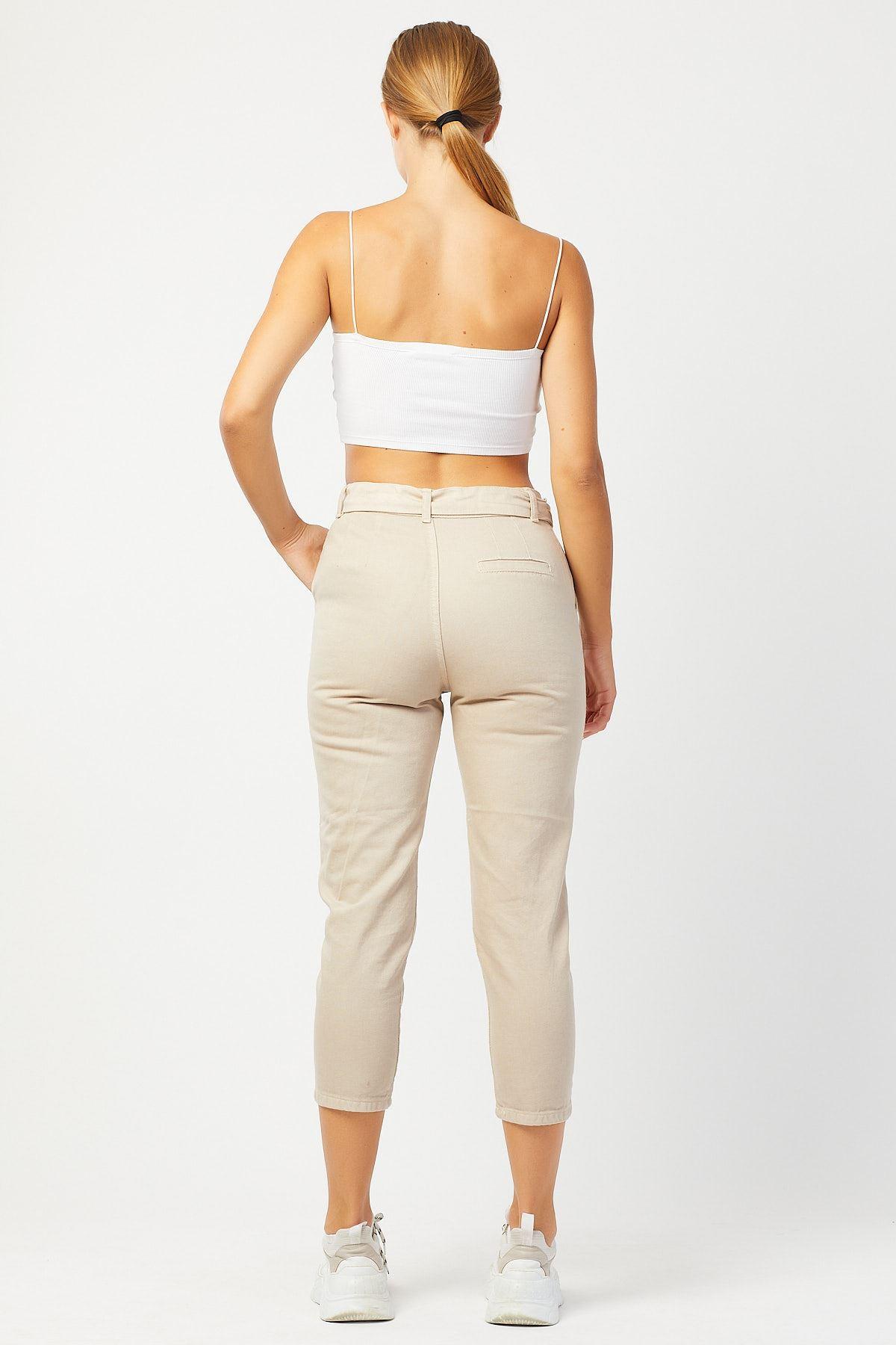 Kalın Kemerli Yüksek Bel Keten Pantolon