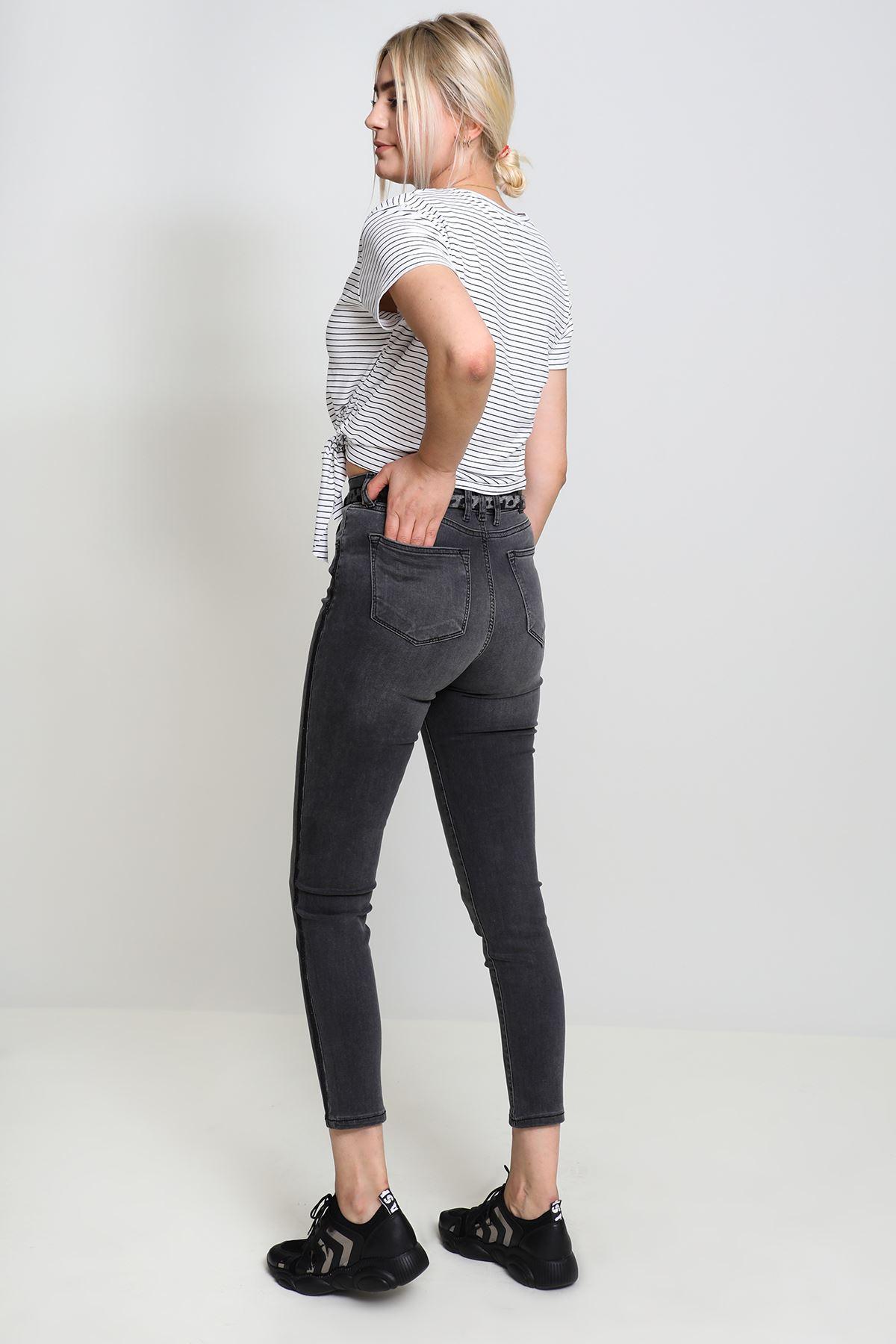 Yandan Şeridi Simli Kot Pantolon