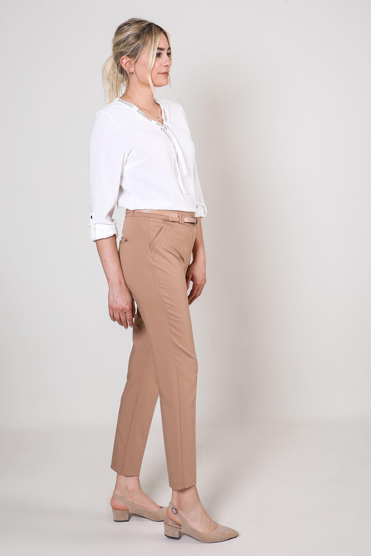 Kemerli Kadın Kumaş Pantolon