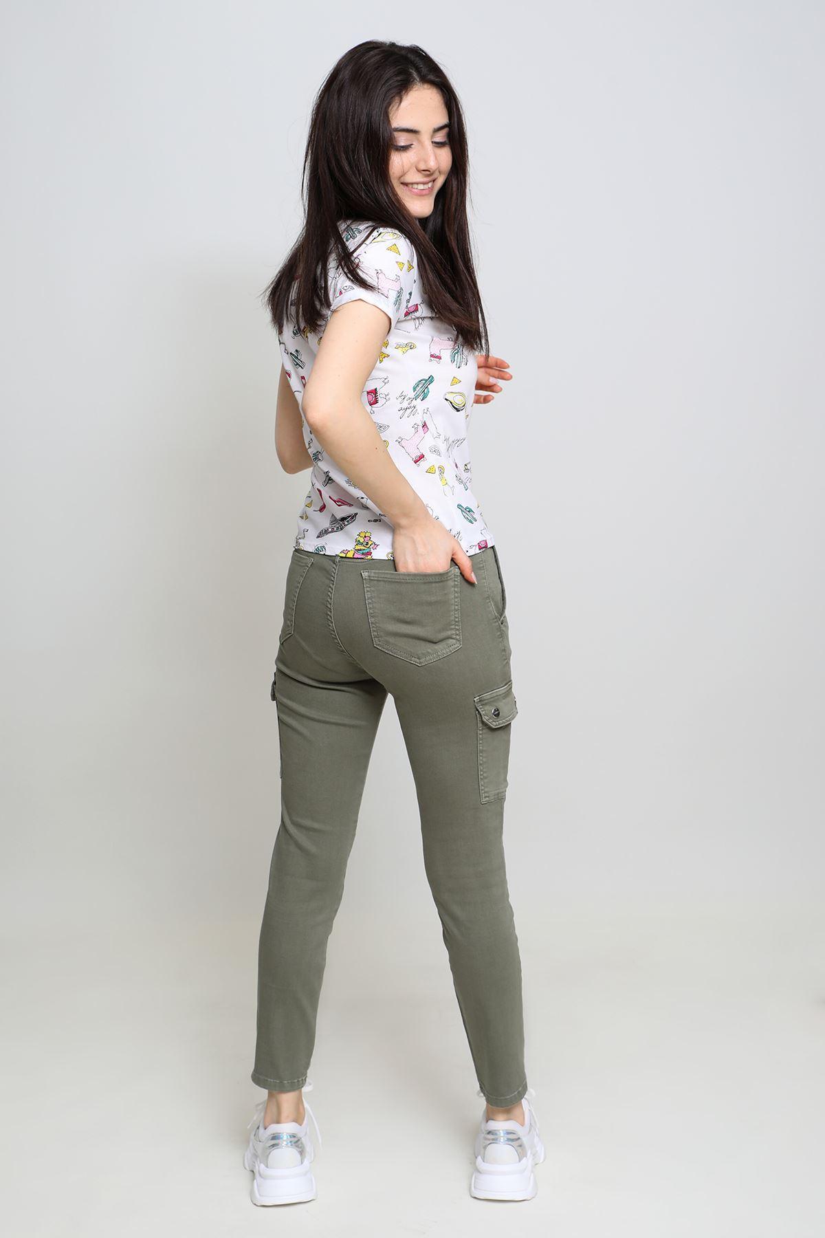 Renkli Kargo Keten Pantolon (582)