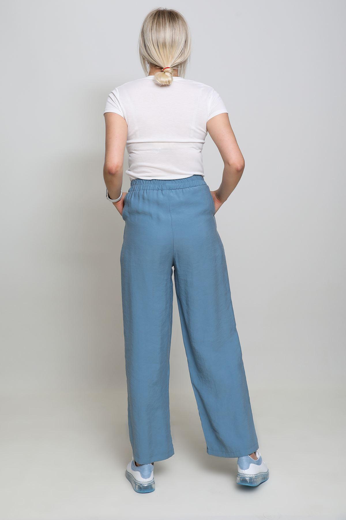 Bol Paça Lastikli Tensel Pantolon