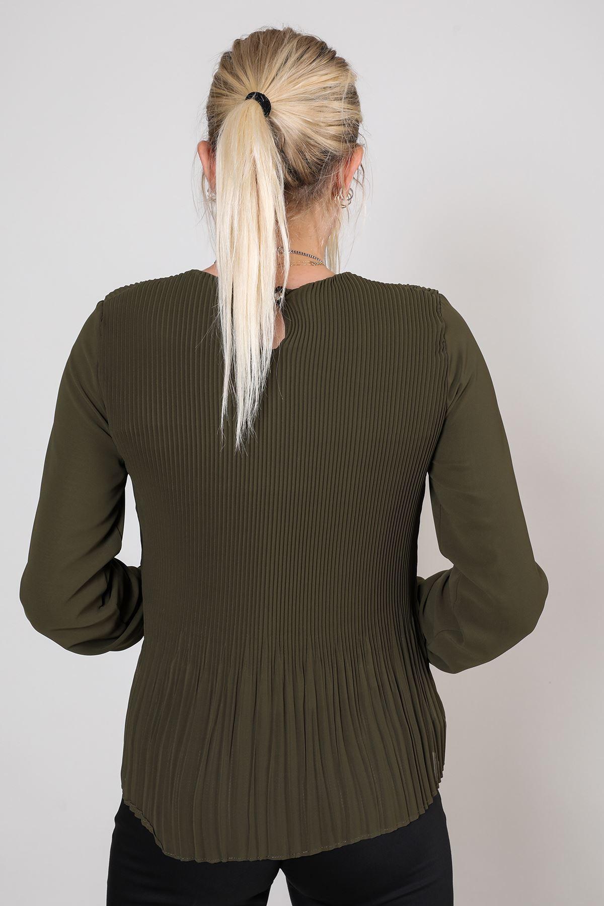 Piliseli Uzun Kol Şifon Bluz