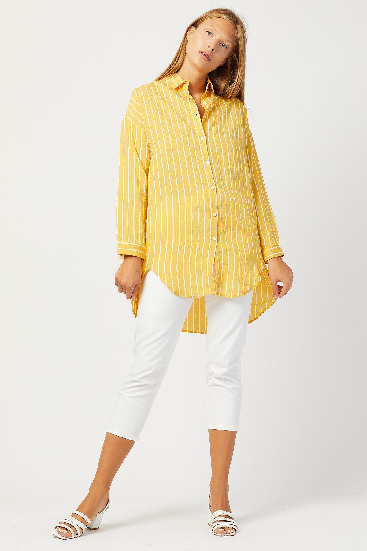 Çizgili Kadın Hardal Tunik Gömlek