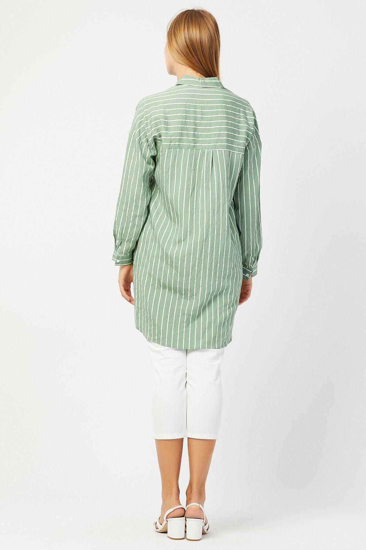 Çizgili Kadın Mint Tunik Gömlek