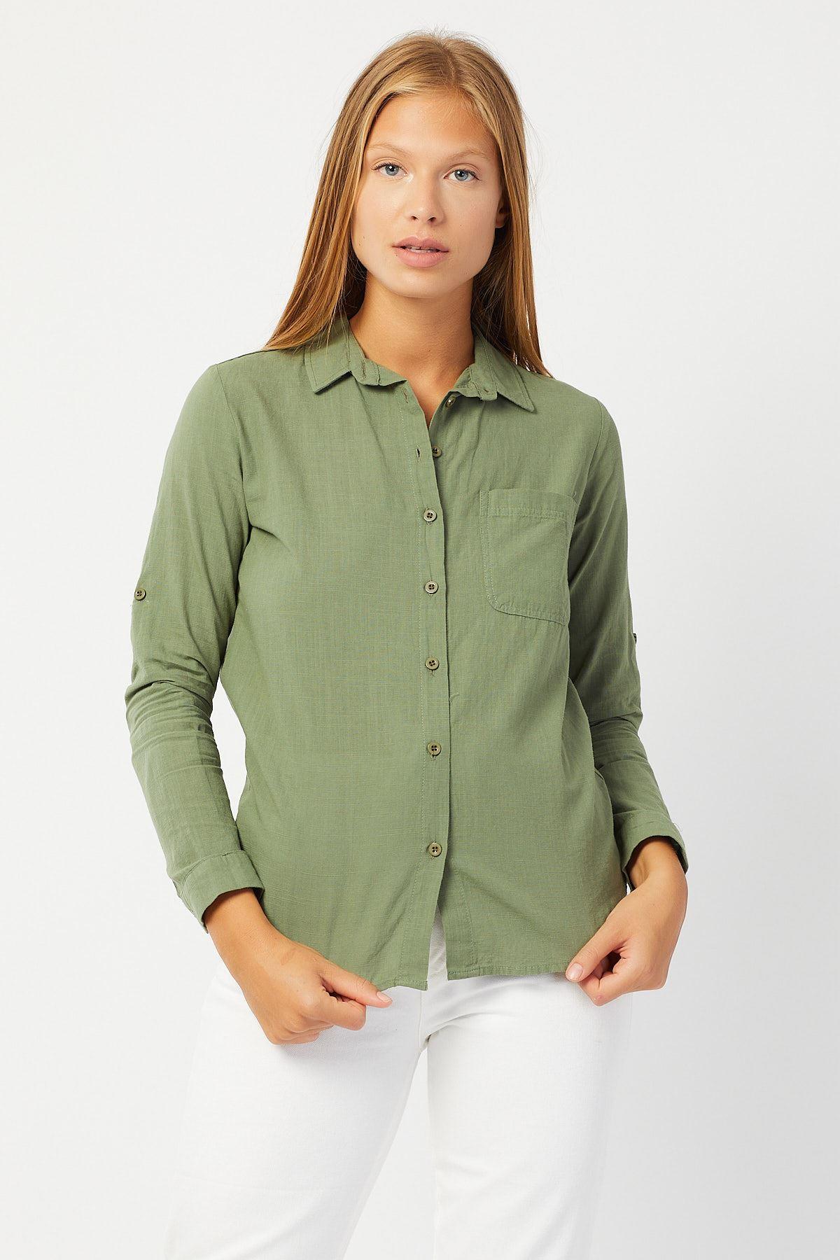 Kol Katlamalı Keten Gömlek