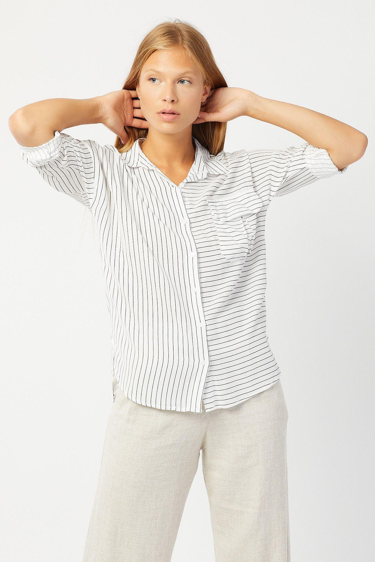 Tek Cep Kapaklı Çizgili Gömlek