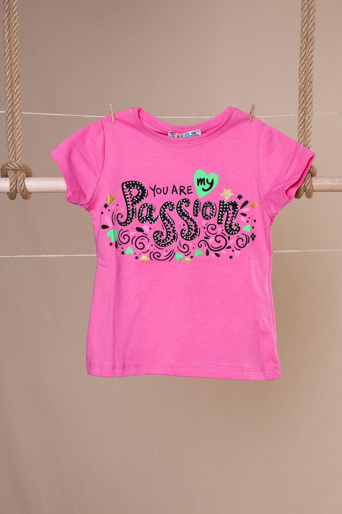 Baskılı Bisiklet Yaka Kız Çocuk T-shirt