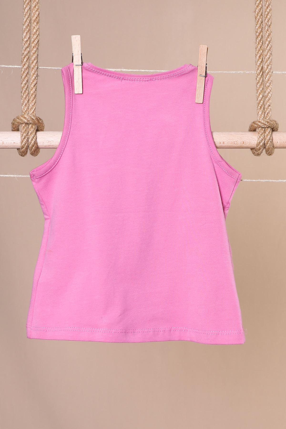 Palmiye Baskılı Kolsuz T-shirt