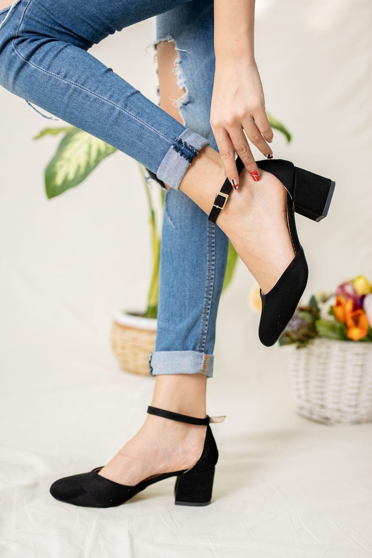 Yuvarlak Burun Siyah Süet Karnıyarık Ayakkabı