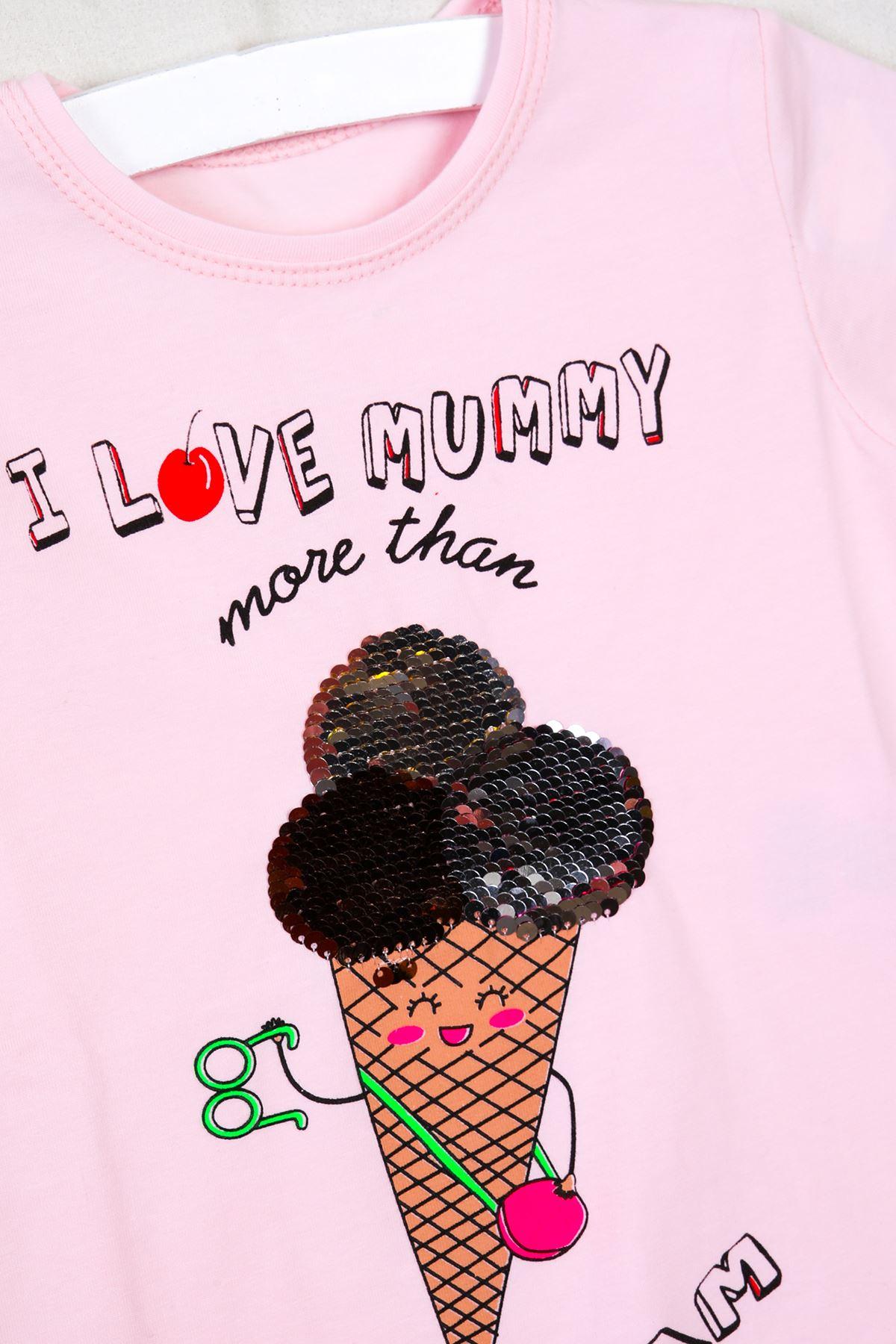 Dondurma Baskılı Pullu Pudra Çocuk T-shirt