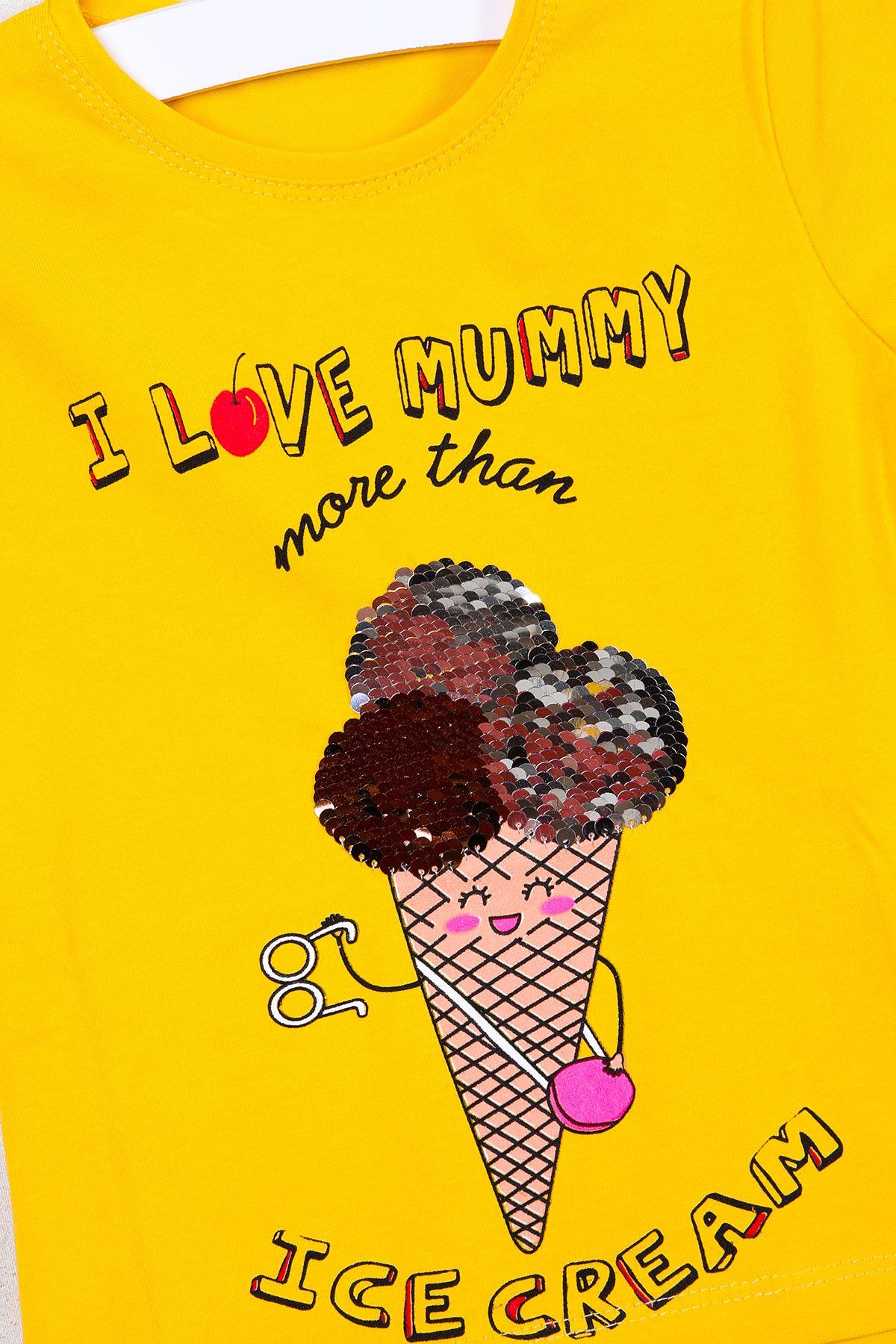 Dondurma Baskılı Pullu Sarı Çocuk T-shirt