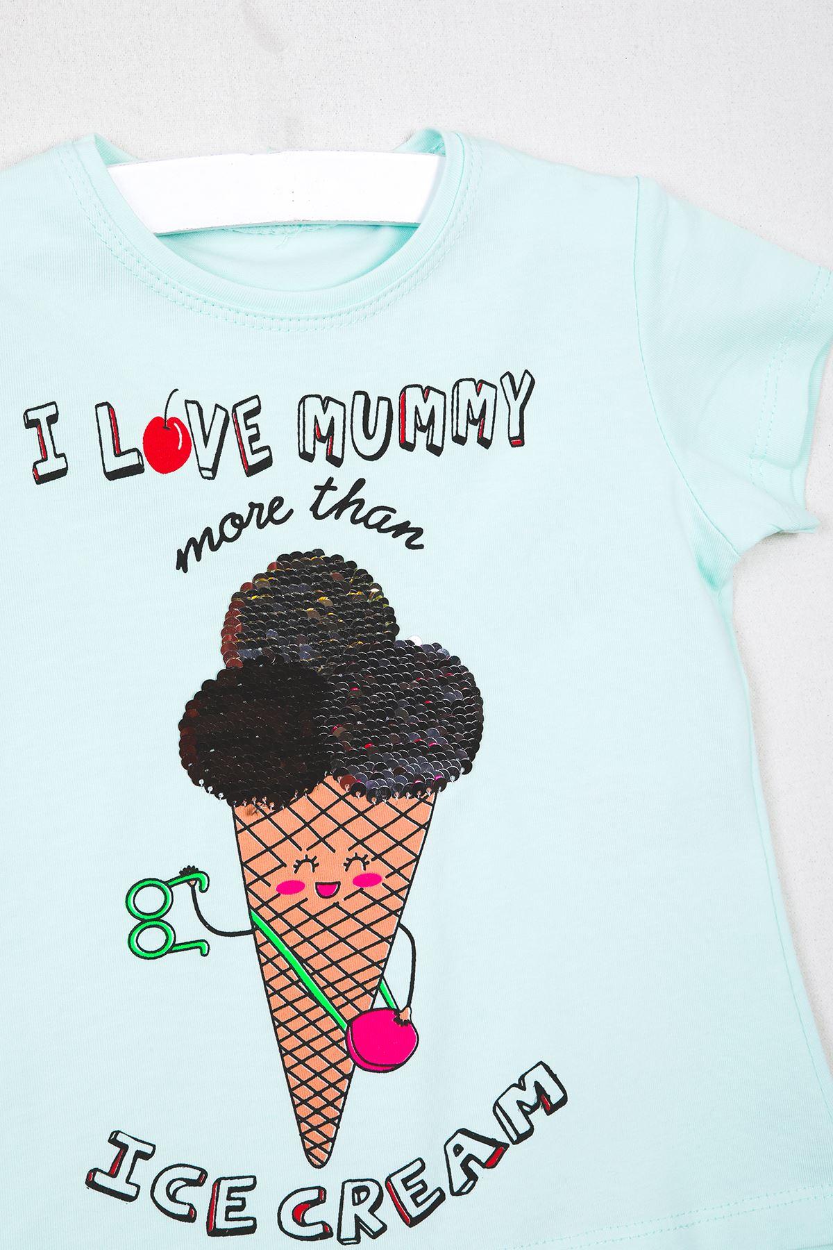 Dondurma Baskılı Pullu Mint Çocuk T-shirt