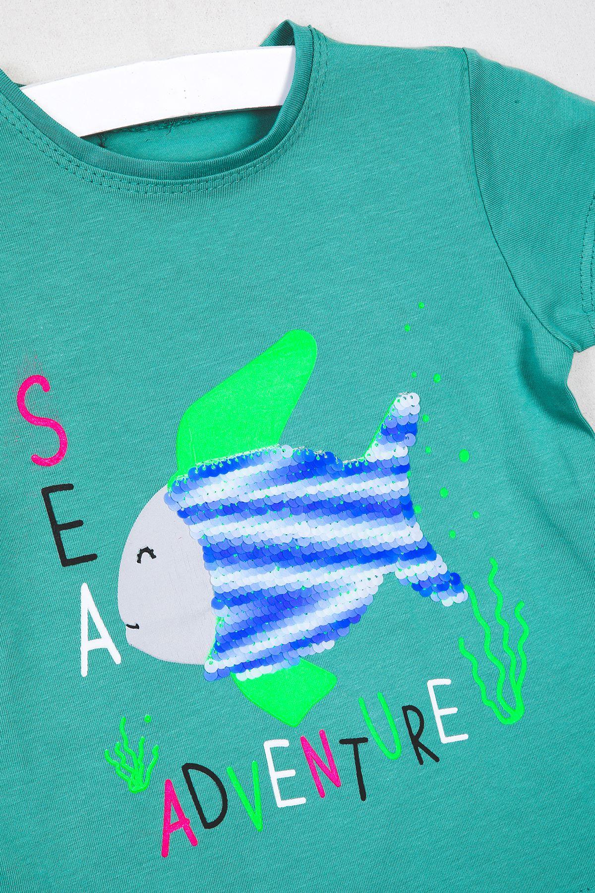 Balık Baskılı Pullu T-shirt