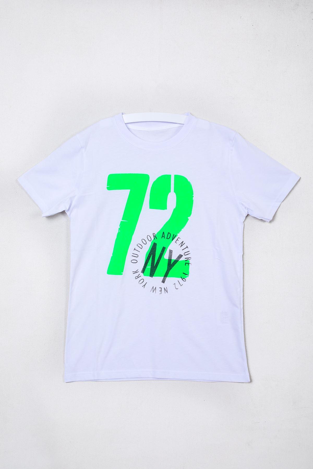 72 Baskılı Beyaz Çocuk T-shirt