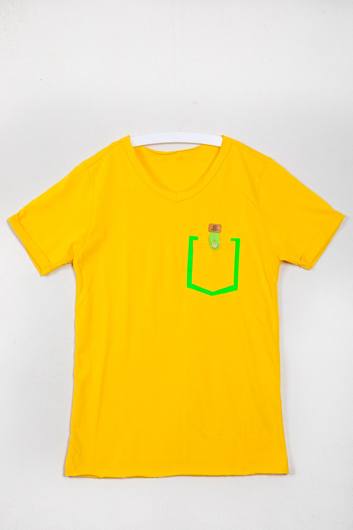 Cepli Düz Sarı Çocuk T-shirt
