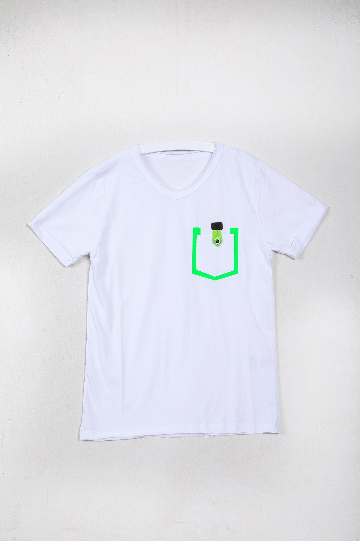 Cepli Düz Beyaz Çocuk T-shirt