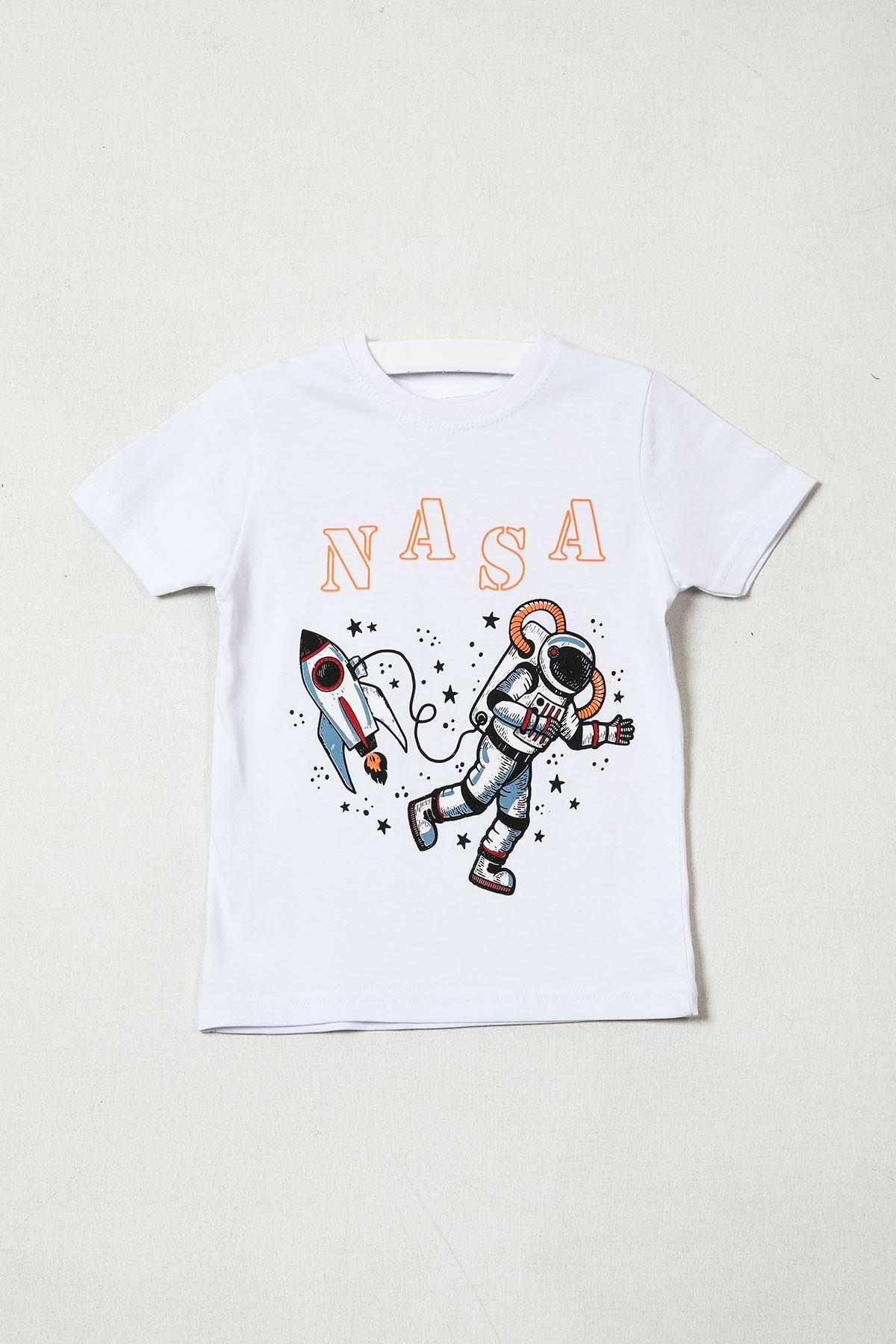 Nasa Baskılı Beyaz T-shirt