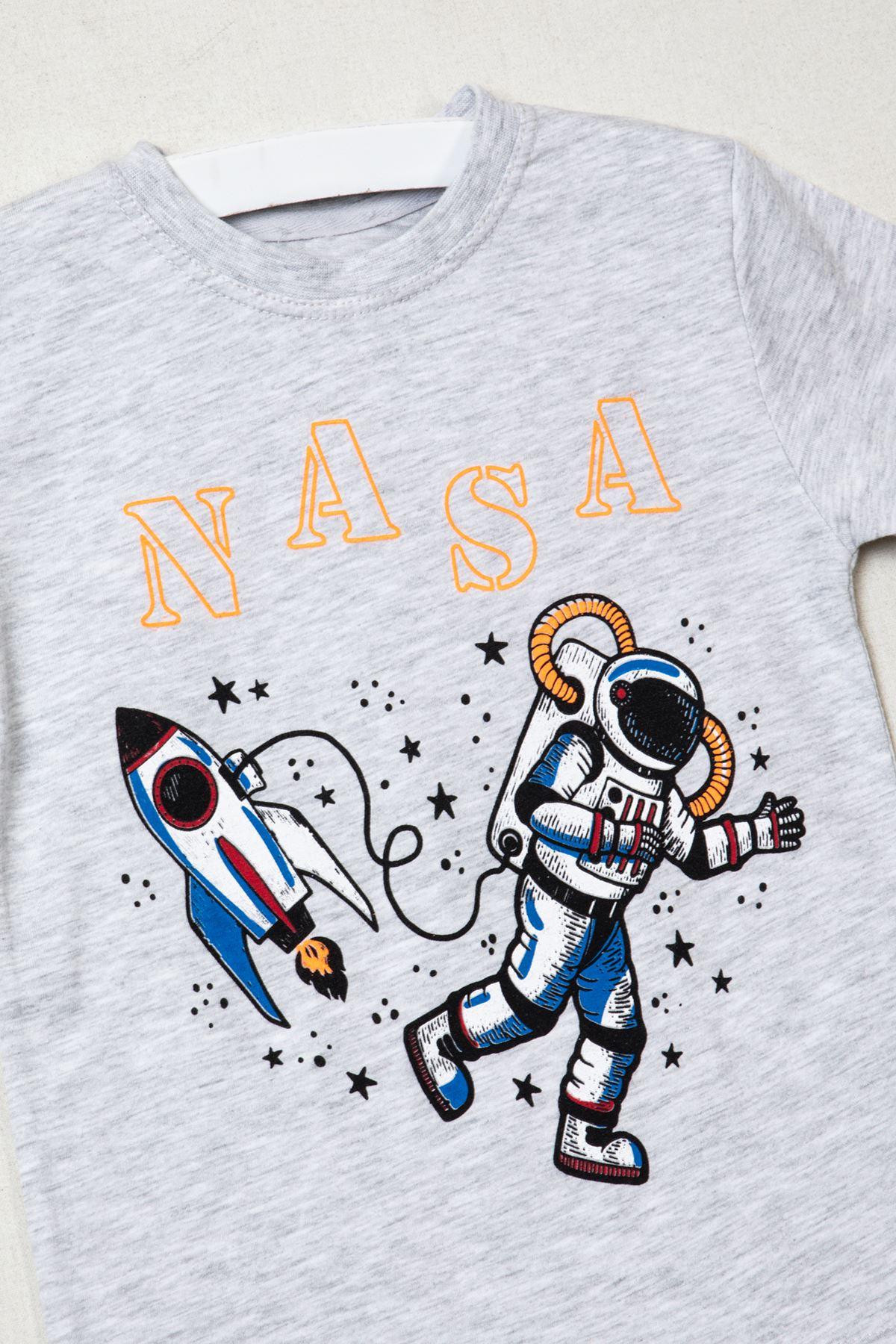 Nasa Baskılı Gri T-shirt