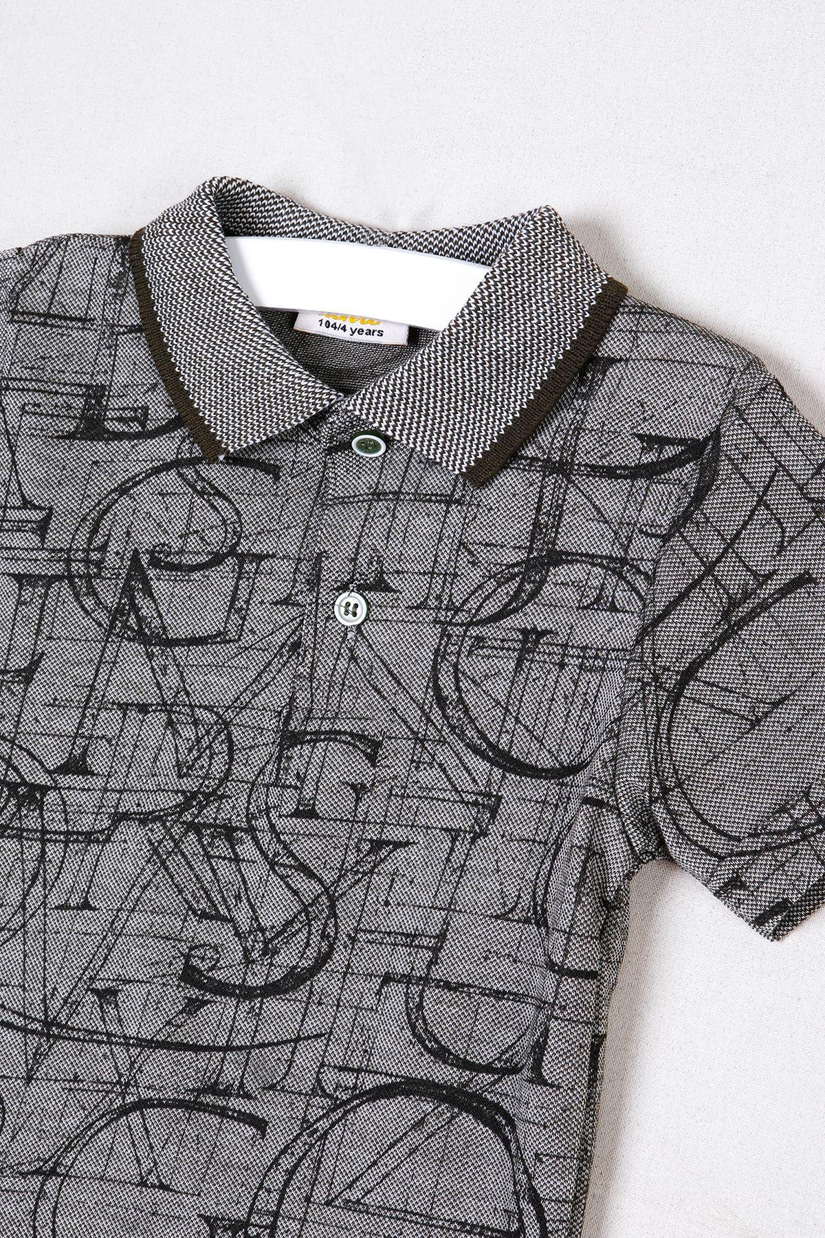 Polo Yaka Baskılı Gri T-shirt
