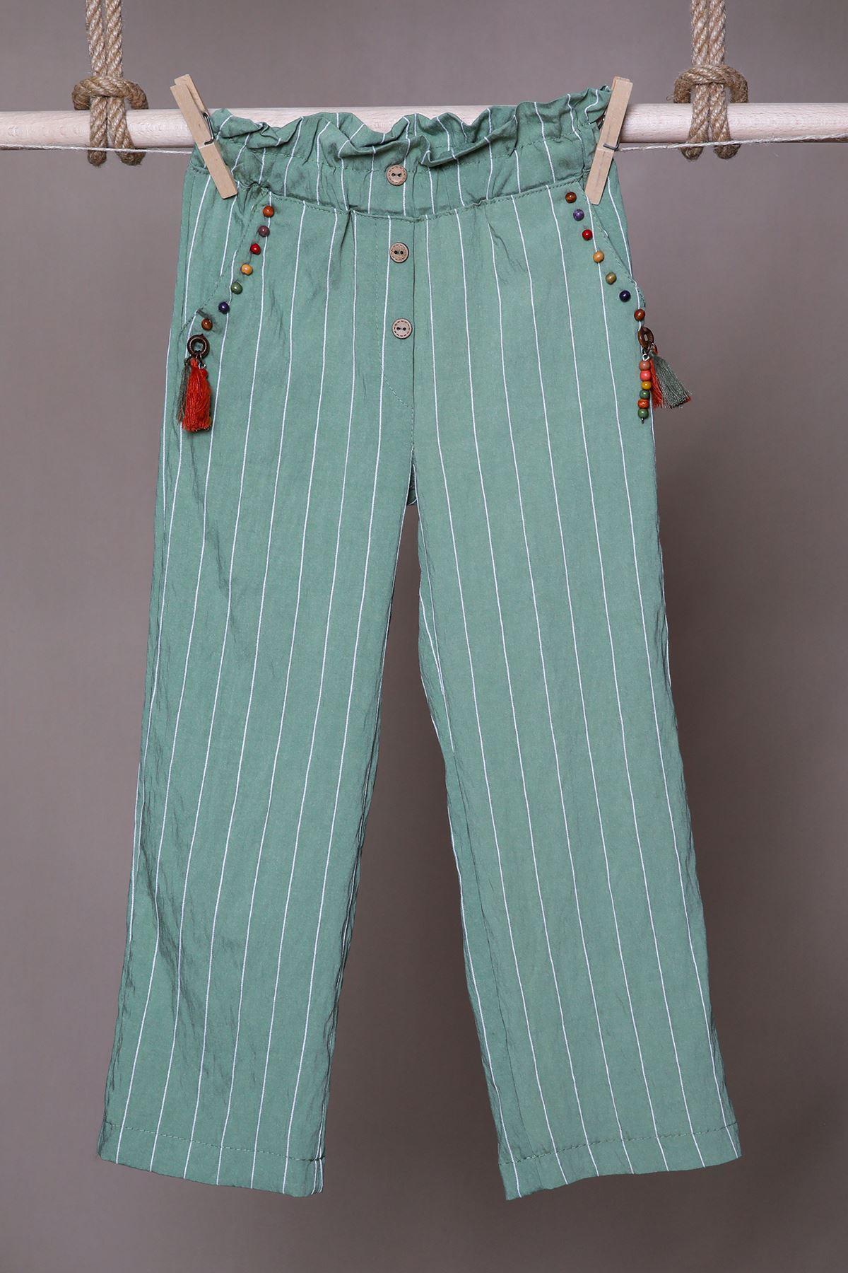 Çizgili Yeşil Keten Çocuk Pantolon