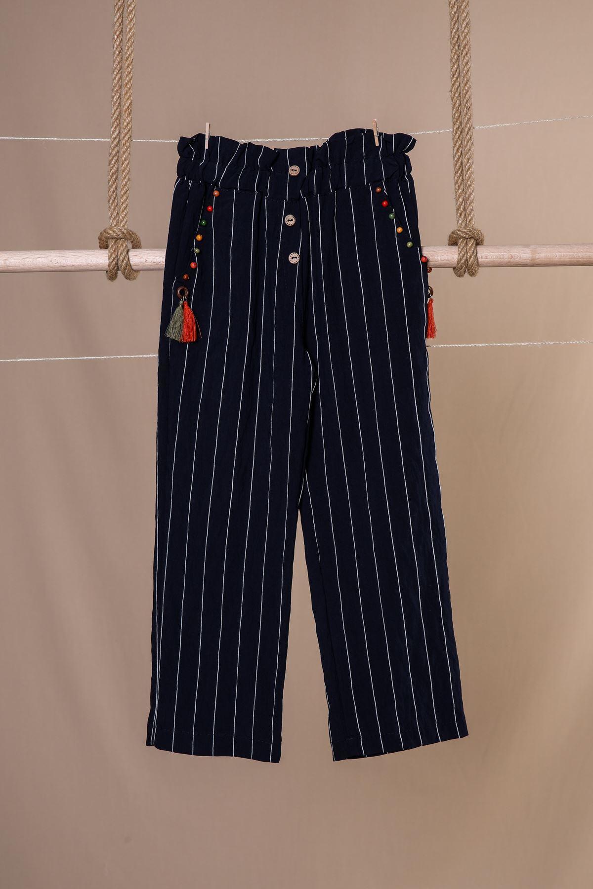 Çizgili Lacivert Keten Çocuk Pantolon