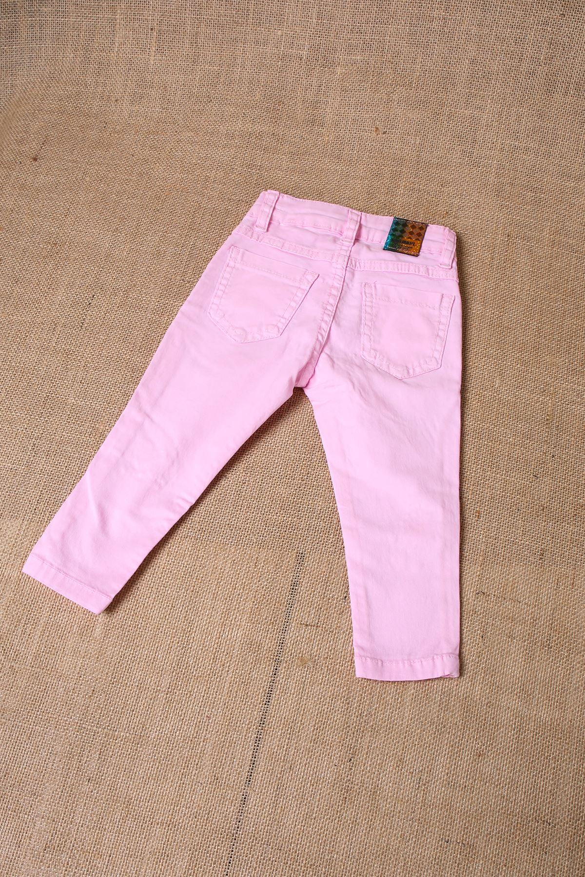 Kalp Nakışlı Dar Paça Kız Çocuk Gabardin Pantolon