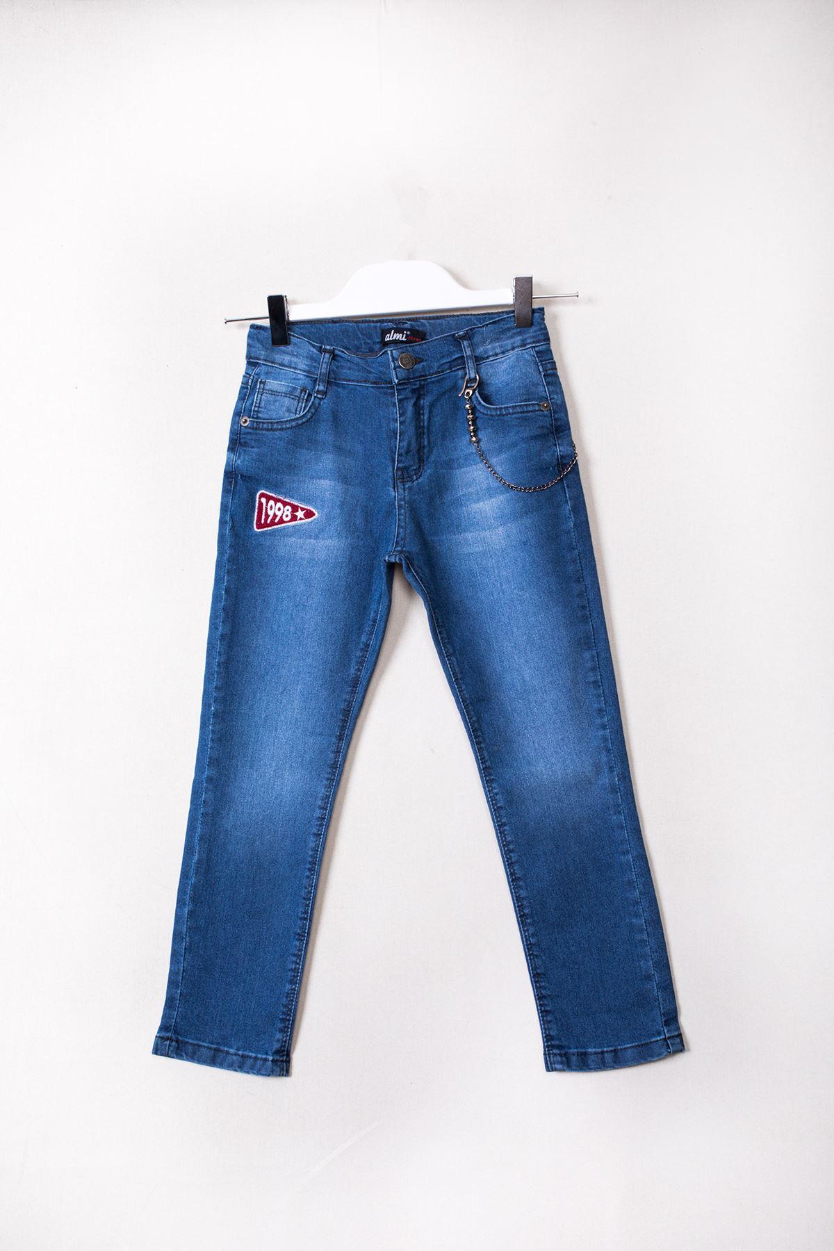 Aksesuarlı Nakışlı Kot Pantolon
