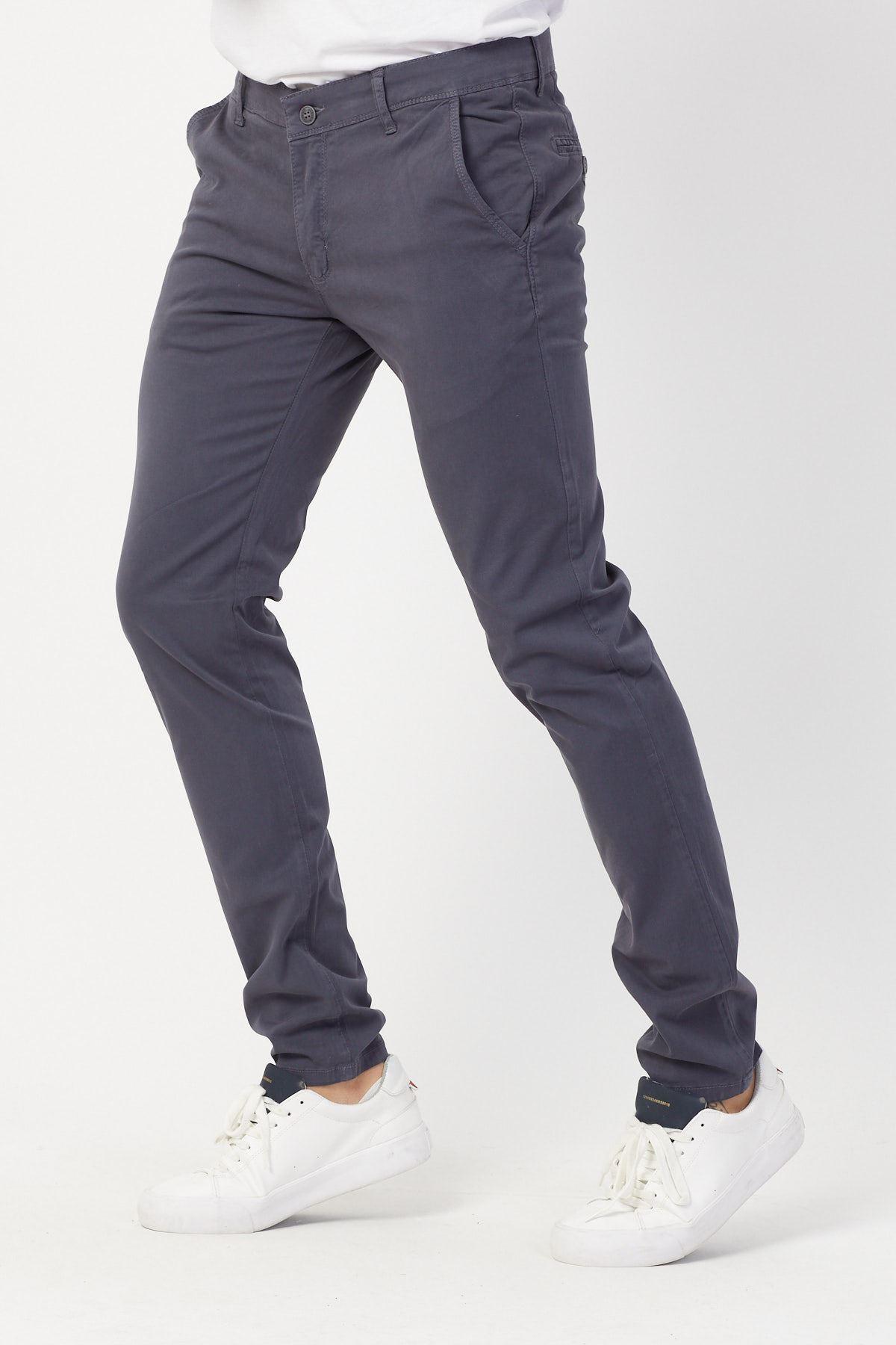 Yandan Cepli  Füme Keten Pantolon