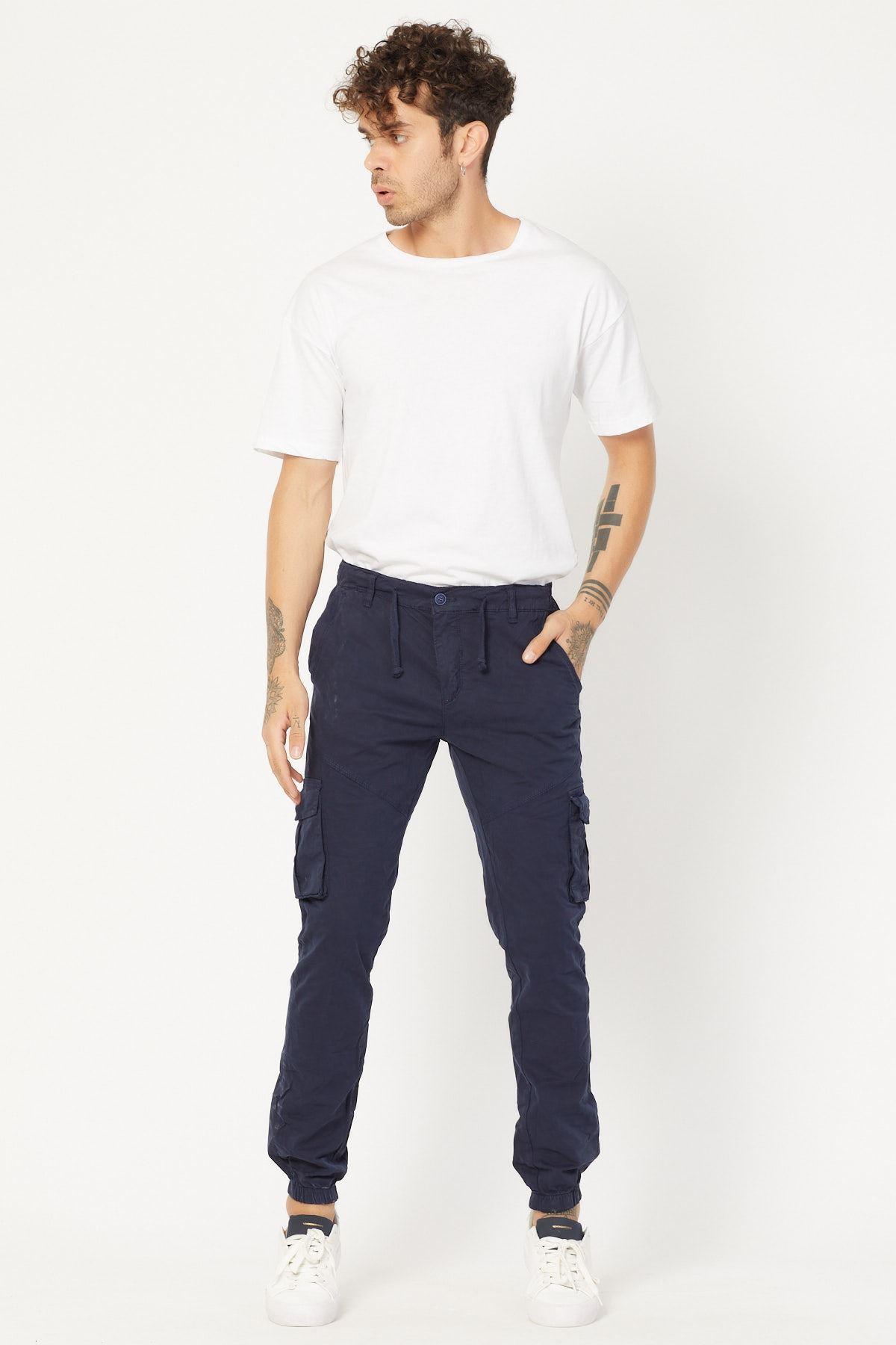 Kargo Cepli Lacivert Keten Pantolon