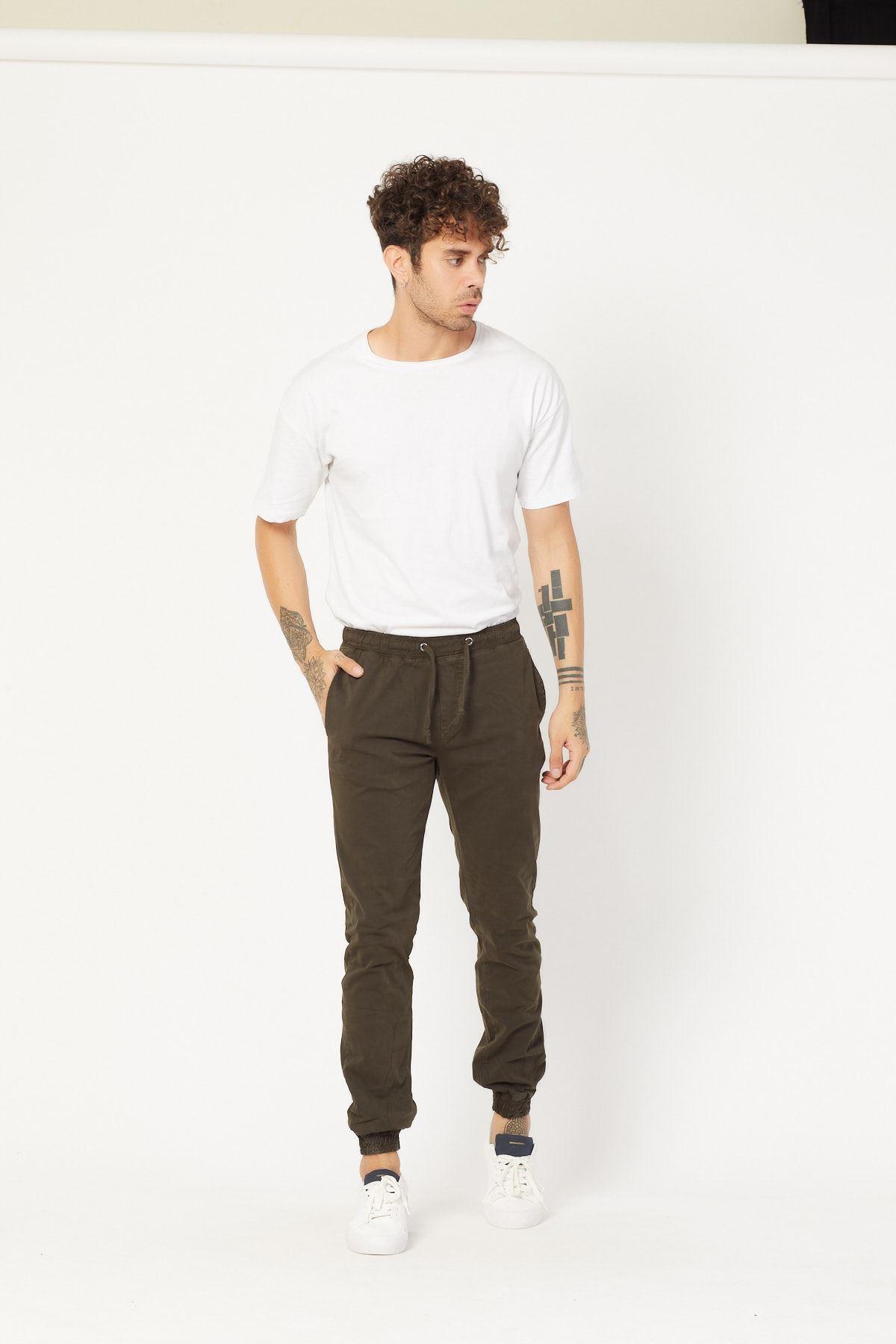 Paçası Lastikli Füme Pantolon