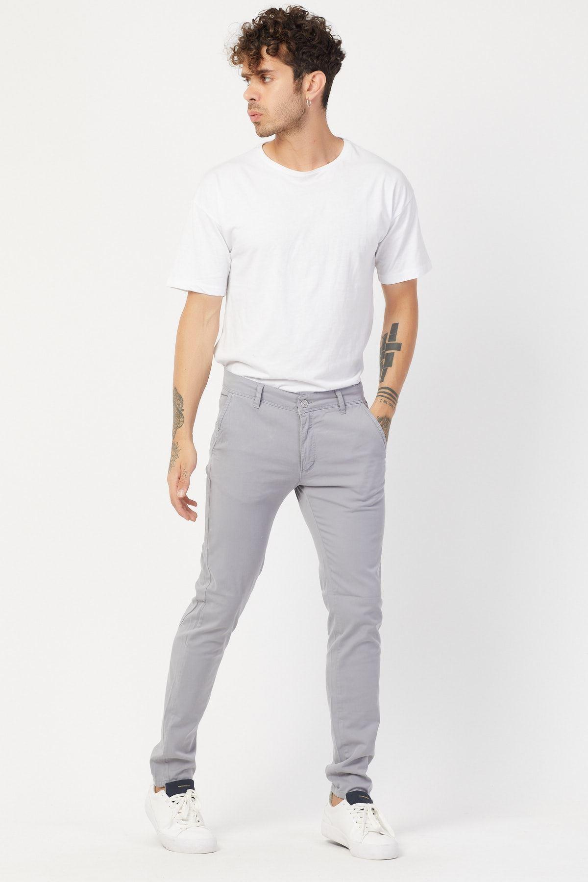 Yandan Cepli Gri Keten Pantolon