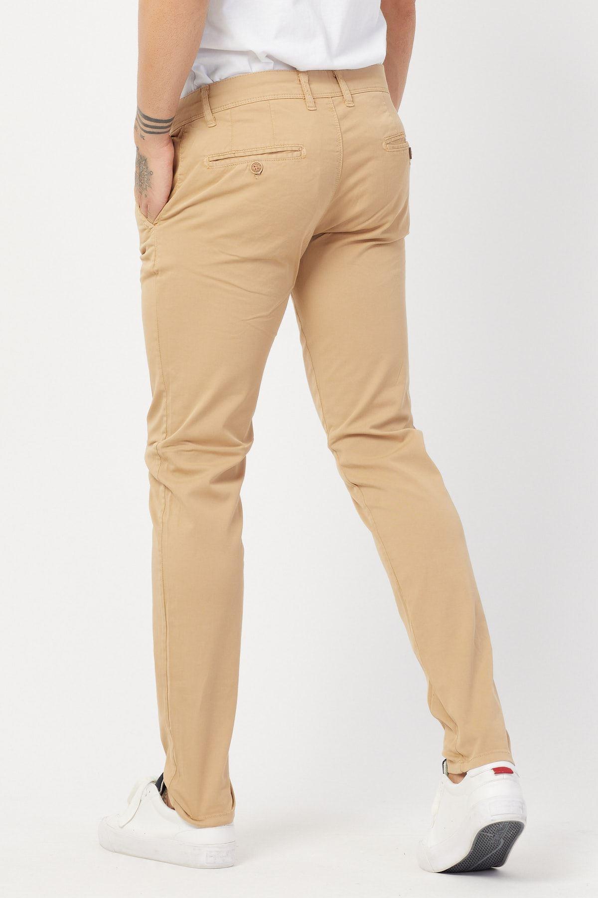 Yandan Cepli Camel Keten Pantolon