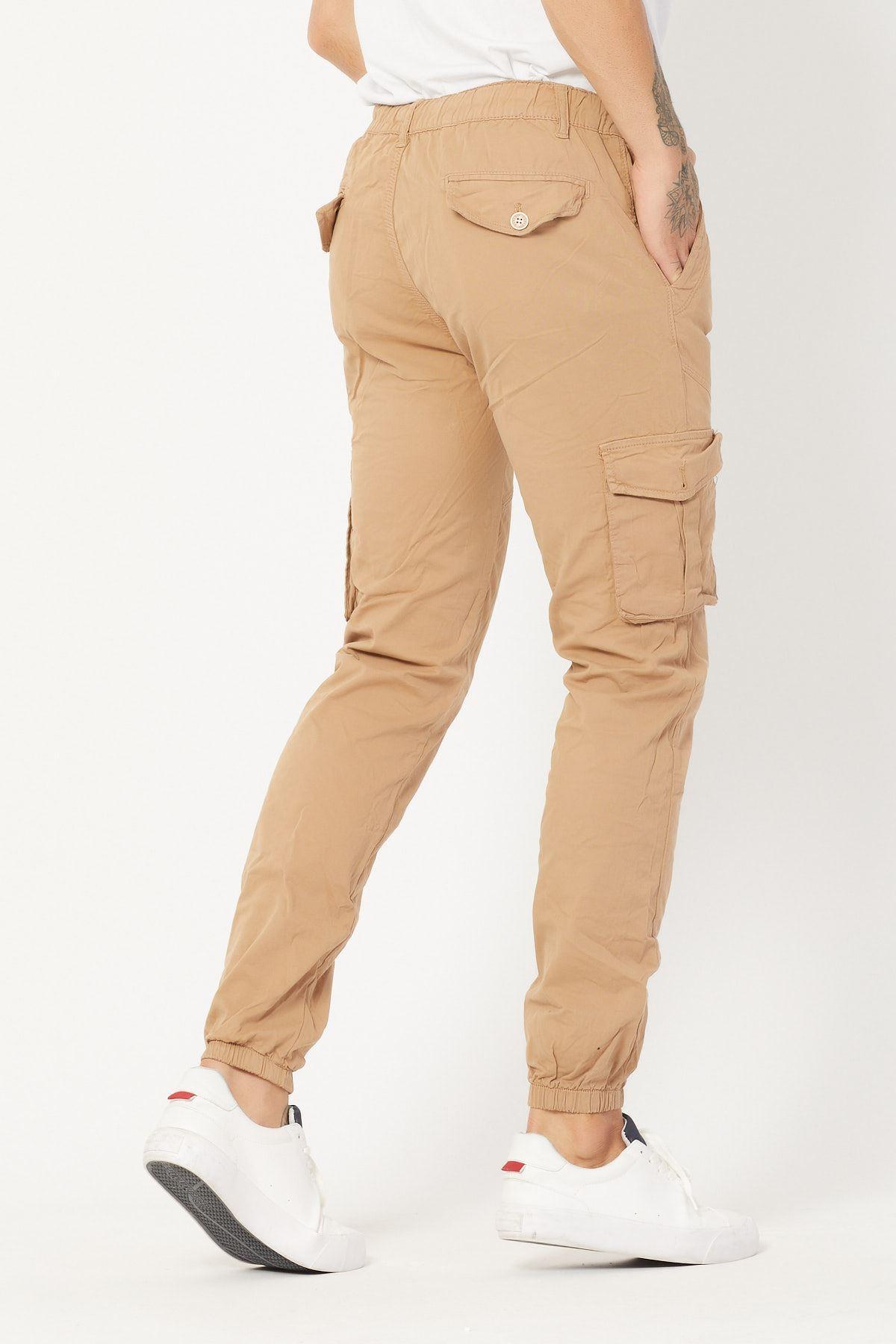 Kargo Cepli Camel Keten Pantolon