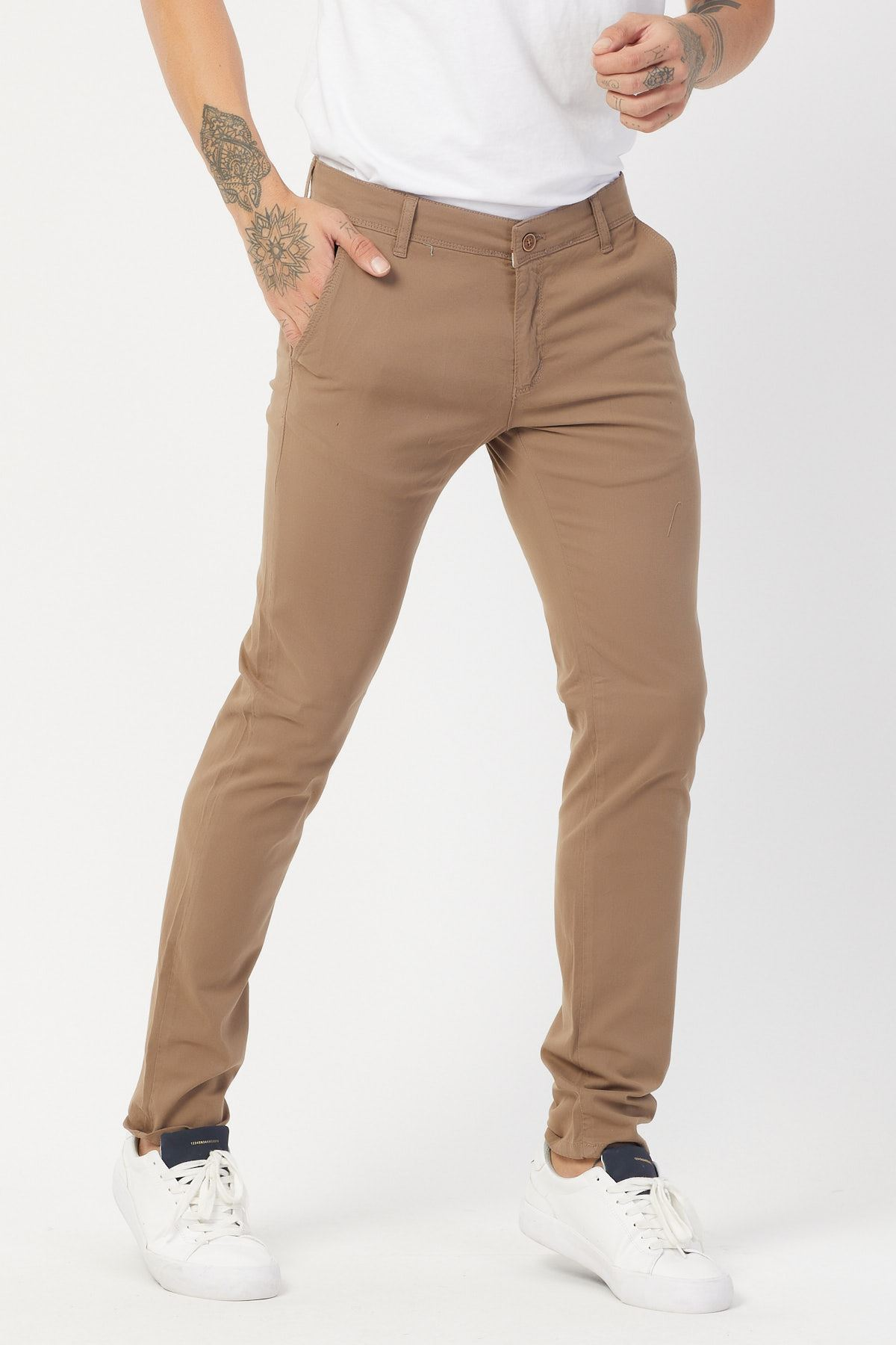 Yandan Cepli Bej Keten Pantolon