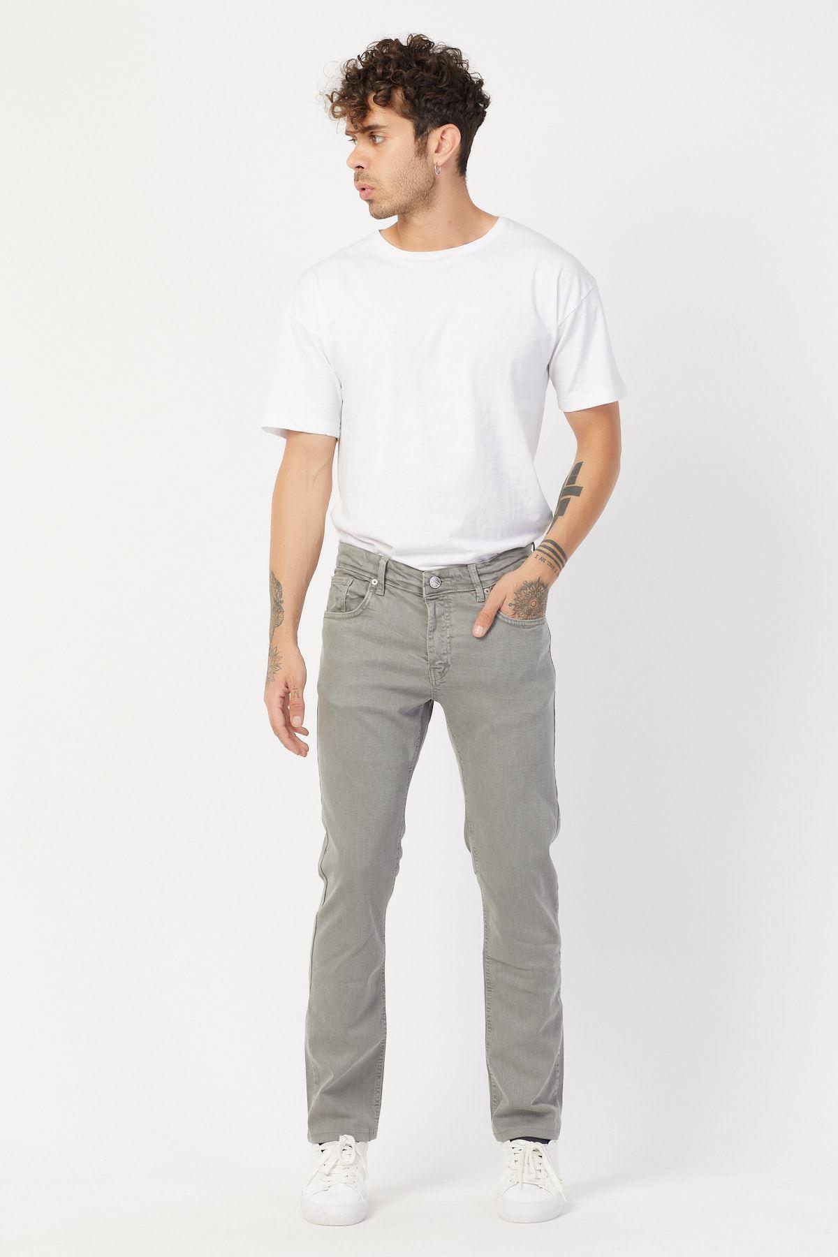 Likralı Boru Paça Gri Jean Pantolon