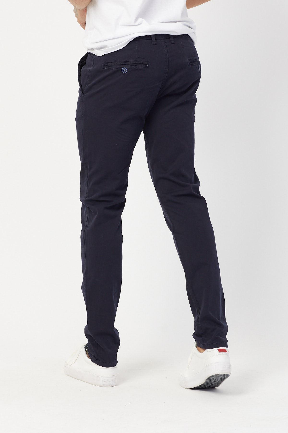 Yandan Cepli Lacivert Keten Pantolon