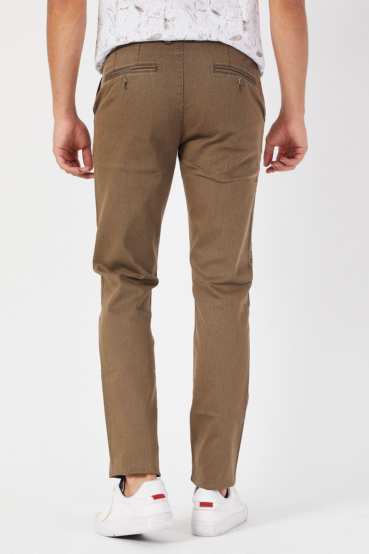 Slim Fit Yandan Cepli Keten Pantolon