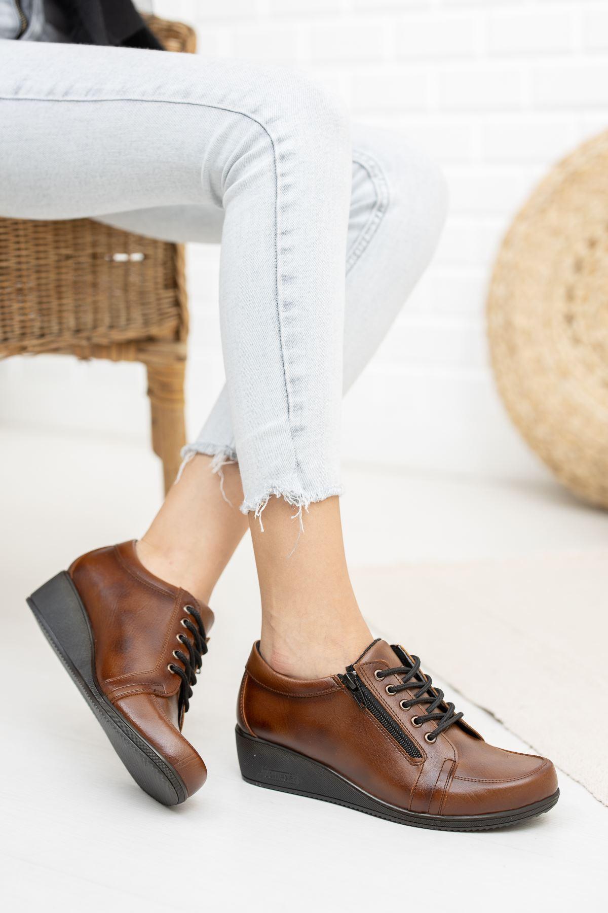 Fermuarlı Bağcıklı Ortapedik Pedli Taba Cilt Ayakkabı
