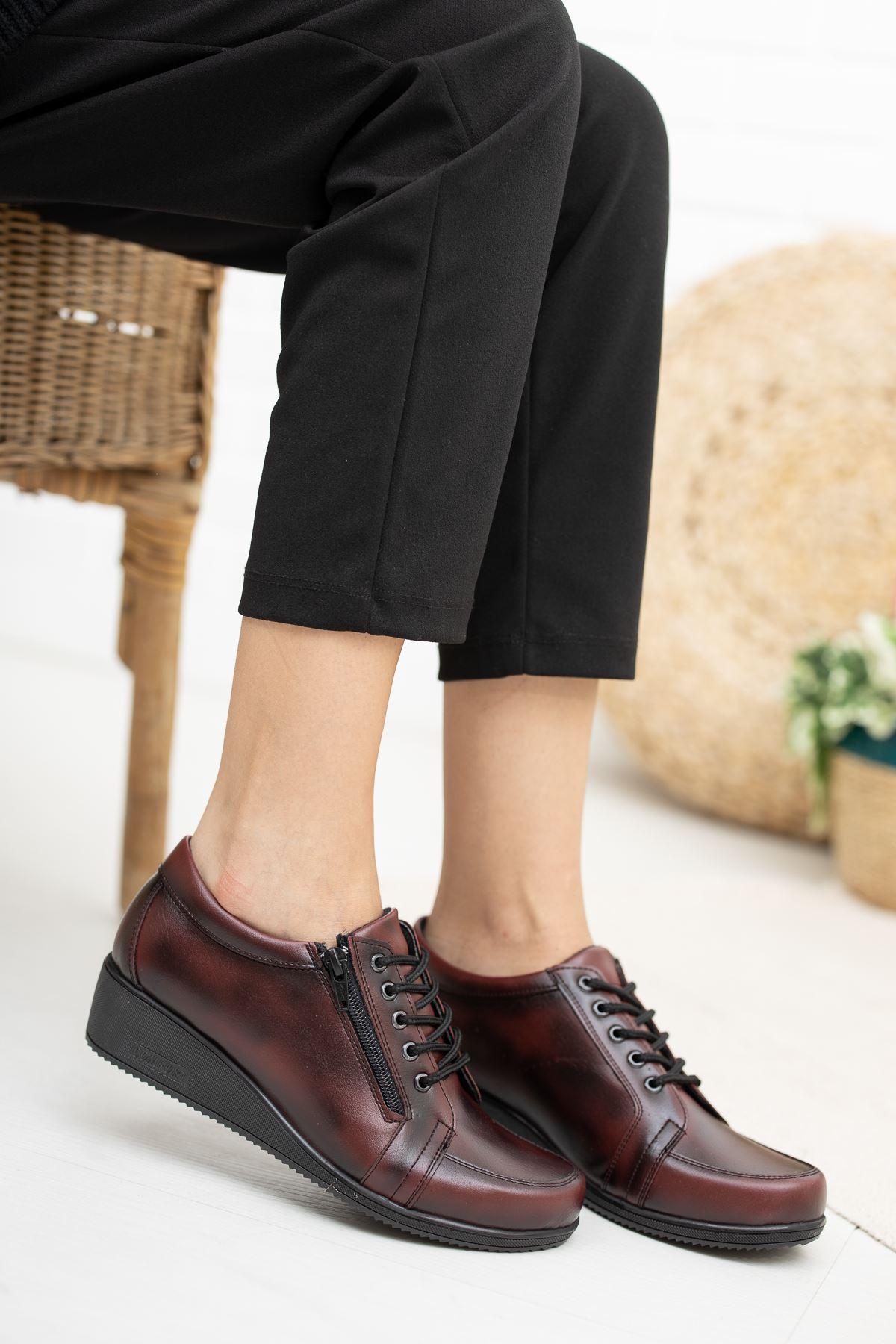 Fermuarlı Bağcıklı  Ortapedik Pedli Bordo Cilt Ayakkabı